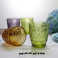 A group of happy fresh fireworks embossed color glass cup, creative cold drink cup, glass cup Bluish green
