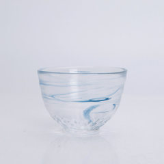 Japanese style glass hand thickening cup, heat resistant gradual blue tea cup, home creative tea table