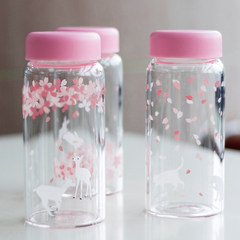 Creative Japanese Sakura portable portable cup, adorable cartoon heat-resistant glass, children's accompanying cups Sprout cat / cup brush
