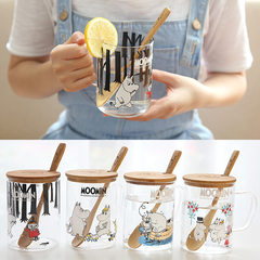 Genuine MOOMIN with cover glass heat the Moomin lead-free glass set sweet transparent glass D/ / wood + spoon a boat