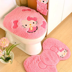 Toilet mat, children's cute, 4 pieces of paper towel cylinder, toilet mat, ground mat, toilet seat gules