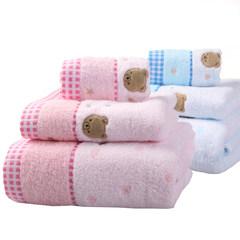 Gold pure cotton towel towel towel three sets a spongy adult three piece set post 3149 blue hair bath towel