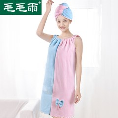 Wear the towel towel drizzle shower cap suit female bra Bath skirt suit dry hair cap increase water bath skirt Red and yellow color matching 75x62cm