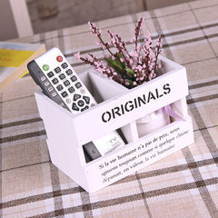 Zakka grocery solid wood hollow remote control storage box to do old white penholder two lattice storage props