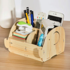 Creative wooden desktop storage box, mobile phone remote control finishing box, multifunctional pen container, office small articles storage Oak