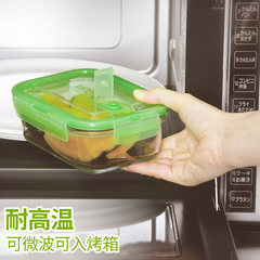 Japan ASVEL glass lunch box can be microwave heating box, heat sealing cover cover fresh box 1100ml