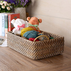 Vietnam imported handmade rattan overlapping storage basket debris desktop storage basket Home Furnishing daily cosmetics About 36x26xH16CM