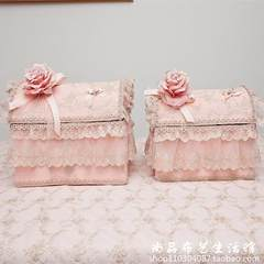 Princess charming lace jewelry, To jewelry collection box, cosmetic box, desktop dresser, trash box Trumpet 25*20*15 Pink