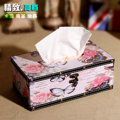 European style retro fashion, pure handmade wooden rectangular towel box, paper box, napkin box, home car Long butterfly flower tissue box