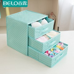 Collection cabinet, drawer type underwear storage box, cloth package underwear, underwear box, underwear box Three layers, 3 drawers, dot green
