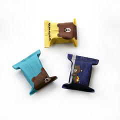 Line小熊创意棉麻纸巾袋布艺卡通抽纸盒车载抽盒书桌用抽纸盒 黄色小熊(大号)