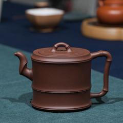 Yixing Zisha teapot handmade bamboo round old Purple mud crystal Liu making recommendation