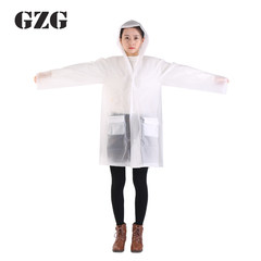 GZG transparent environmental protection raincoat, waterproof, conjoined, long, single travel, non disposable, convenient outdoor Medium size (M) Adult size money bag