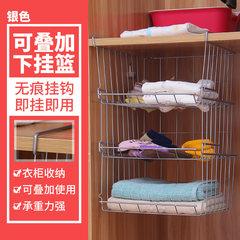Wardrobe storage rack, metal shelf frame, kitchen cabinet, hanging rack, interlayer hanging basket, wall hanging storage rack T Stacking cradle silver (3 pieces)