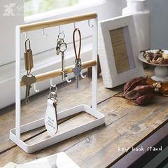 BAOZAKKA entry shelf, desktop storage rack, jewelry rack, hook key, Jewelry Earring, necklace arrangement rack (white double stick, 8 hook jewelry rack)