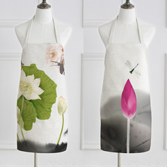 Chinese wind lotus ancient ink painting cloth Home Furnishing Kitchen Apron apron chef cooking and baking. Apron China wind 5