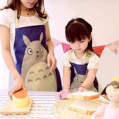 Gardenia Mianma cartoon painting handmade Kitchen Apron Bib parent-child restaurant simple creative apron Summer holiday (adult edition)