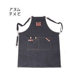 Hand maker, denim apron, ribbon, strap, flower, coffee shop, work apron, custom logo customized apron Tannin blue blank label -S code