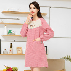 Long sleeved Cotton Apron kitchen smock Korean fashion blouse sleeve dress cute adult anti shipping apron Plum blossom black