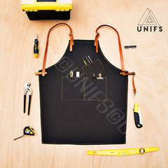 UNIFS original custom made LOGO Canvas Shoulder apron, restaurant cafe, men and women Gallery, leather work apron G Customized color shoulders for S code