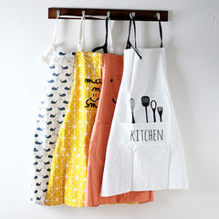 The cotton fabric apron kitchen oil proof waterproof apron sleeveless smock apron home cooking restaurant Whale apron