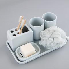 日式简约素色卫浴七件套卫生间洗漱杯漱口杯牙刷架洗漱浴室套装 绿色 七件套