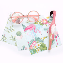 Shipping 3 pieces of original design with a clean rag million flamingos tropical cactus screen cloth wiping glasses
