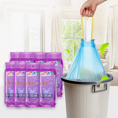 E home cleaning not dirty hands garbage bags plastic bags automatic closing portable kitchen cleaning bag thickening of 8 roll Medium 50*55 (8 rolls of color random) thickening