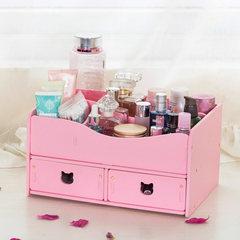创意桌面化妆品收纳盒 梳妆台抽屉式储物盒防水浴室简约护肤品箱 淡粉