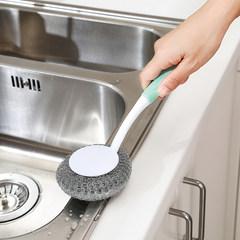Emig steel wire cleaning ball, long handle pan brush, non stick oil, plastic decontamination brush, kitchen creative washing brush