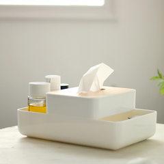 肆月 创意多功能化妆品收纳盒+小纸巾盒塑料底配橡胶木盖子抽纸盒 化妆盒+小纸巾盒