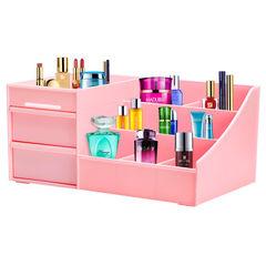 蜜蜜花韩国抽屉式化妆品收纳盒大号创意桌面收纳盒塑料收纳箱包邮 特大号粉色