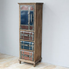 Loft American country with imitation leather drawer retro Ironwood old personality side cabinet cabinets / lockers