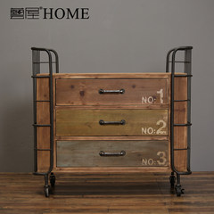 American country iron solid wood storage cabinet, retro drawer cabinet, clothing store, bedroom entrance, storage cabinet 3 68B15B003