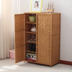 Straw shoe simple modern simple multi-function hall cabinet rattan wood door household type storage lockers Khaki Jiangsu, Zhejiang and Shanghai