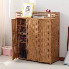 The cabinet shoe simple modern rattan simple multi-function economic wood straw storage locker room Khaki Jiangsu, Zhejiang and Shanghai