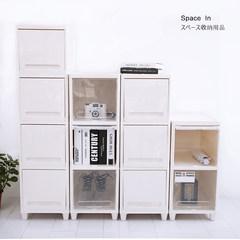 Poly cute plastic storage box, children's wardrobe, multi function stackable storage cabinet, shelf shelf, bedside cabinet 2 Transparent Beige