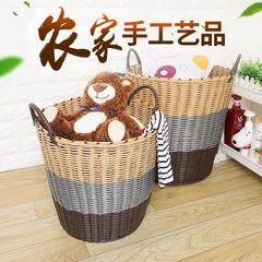 Oversize laundry basket household plastic rattan basket bathroom dirty clothes washing basket toy storage basket Soft coffee shades * Size