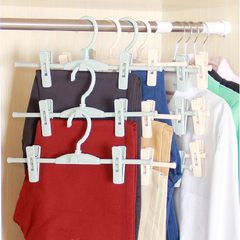 With clip, clothes rack, trousers rack, multifunctional wardrobe, pants clip, home pants, underwear, rack pants hanging One Nordic apricot