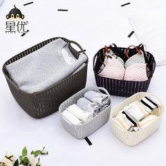 Desktop storage basket rattan kitchen debris storage basket snack box toy toilet clothes basket Grey white trumpet + m + Green Size