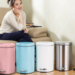 Stainless steel garbage bin, rust proof household pedal, round home bathroom, office garbage pail cover 7L Pink