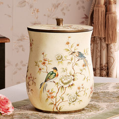 American style retro garden dustbin with cover, household basket, living room, bedroom, trumpet, creative European style luxury cover White butterfly butterfly bird