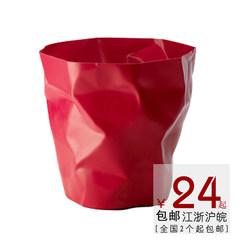 北欧风客厅卫生间厨房时尚无盖加厚大中号塑料创意防水垃圾桶家用 中号玫红色
