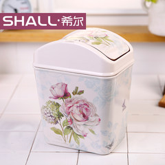 Hill desktop trash cans, fashion creative mini table garbage cans, home cover car basket Jade Rose