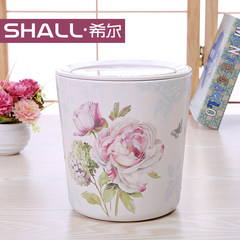 Hill shook the desktop garbage cans, fashion creative garbage cans, European style household lovely kitchen, plastic waste paper basket Jade Rose