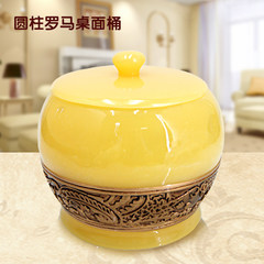 Creative with cover, mini desktop trash cans, bucket European style home living room, small desk trash cans Desktop trash yellow stripe