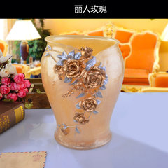 Garbage cans, high-grade European style creative bathroom bucket, fashion living room, dried flower bucket, resin living room decorative bucket The flowers are blooming white