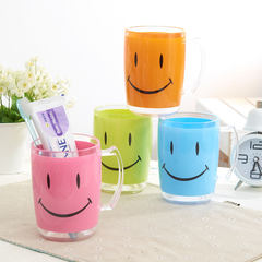 Straw house cartoon smiling face gargle cup can match lovers Wash Cup, handle with fashionable plastic brushing cup Green (color difference, mind careful PAT)