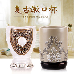 The European Cup European style retro feast gargle toothbrush cup washing cup resin tooth cup lovers'suits bathroom decoration Happy Rose Pearl White