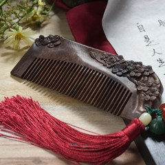 Authentic Antique Carved ebony comb hair loss prevention anti-static massage comb creative to send his girlfriend Girls Gift lettering Double sided carving (with tassels)